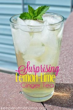 Surprising Lemon-Lime Ginger Tea - made with lemon balm, ginger root, green tea, lime, and cilantro Herbal Iced Tea Recipe, Iced Tea Recipes, Drink Recipes, Refreshing Drinks, Fun Drinks, Yummy Drinks, Cold Drinks, Beverages, Herbal Tinctures