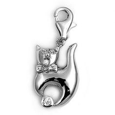 .925 Sterling Silver like Thomas Sabo Crystal Cat Charm Clip - All Things Luxury