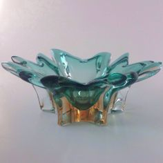 Vtg Cased Art Glass Chalet Murano Ashtray Bowl Turquoise Aqua Peach Base Flower