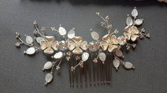 Bridal hair comb crystal comb Ivory hair comb floral by ZTetyana