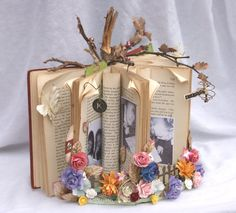 altered books | The photos that I chose to use are stapled on to hold them securely ...