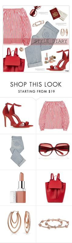 """""""Marine Layer: Striped Shirts"""" by marion-fashionista-diva-miller ❤ liked on Polyvore featuring Schutz, Maison Rabih Kayrouz, Siwy, Marc Jacobs, Clinique, Mansur Gavriel, Bling Jewelry, CC SKYE, Michael Kors and stripedshirt"""