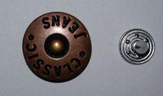 100 Metallknöpfe / Patentknöpfe 16mm altkupfer z. Zusammenstecken Jeansknöpfe