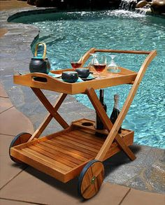 Hana Eucalyptus Wood Serving Cart - traditional - bar carts - - by Overstock