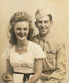 Right waist gunner of the 95th Bomb Group, Sgt William H. Binnebose, Jr with his wife ~