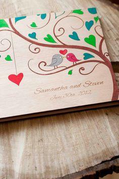 "Custom Wedding guest book wood rustic wedding guest book album bridal shower engagement anniversary- ""Love Birds""- Hand painted"