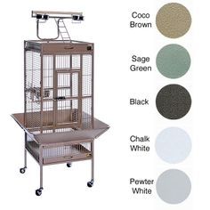 Keep your feathered friend cozy in this rolling iron bird cage from Prevue Pet Products. Its large size, perches, and four feeding cups make it comfortable for multiple birds, and its casters make it easy to move the cage from one room to another.