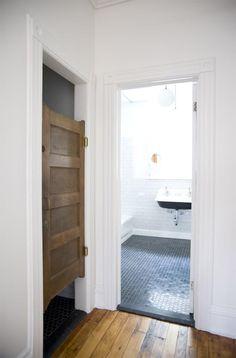 A Brownstone in Brooklyn, Reborn : Remodelista (swinging door to toilet)