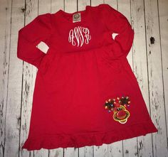 RED Long sleeve ruffle Applique Christmas by HappyCrabBoutique