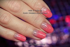 Gelish Coral and Silver Glitter Ombre nails by www.funkyfingersfactory.com