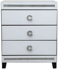 Addspace 2 Drawer Mirrored Bedside Table Matt White Frame Bedroom Furniture Storage