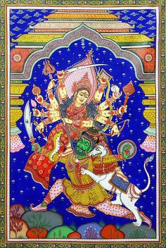 Durga Slaying Demon Mahishasura (Orissa Paata Painting on Tussar Silk - Unframed))