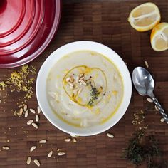 Cauliflower soup with toasted pine nuts and lemon.
