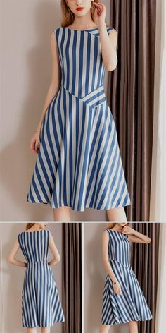 Casual O-Neck Gathered Waist Pinafore Patchwork Skater Dress fashion dresses casual Dresses Elegant, Women's Dresses, Simple Dresses, Cotton Dresses, Casual Dresses, Fashion Dresses, Dresses For Work, Summer Dresses, Formal Dresses