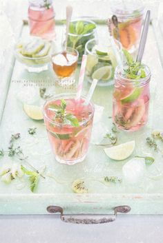 pink passionfruit iced tea with lime, kiwi, mint, and thyme from twolovesstudio.com