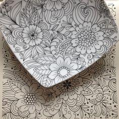 """Mais uma inspiração dos livros de colorir! """"Um jardim de cores"""" #porcelana…"""