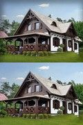 SENDOM.PL - Producent domów drewnianych Home Fashion, Tiny House, Cabin, Mansions, House Styles, Summer, Ideas, Home Decor, Log Cabin Homes