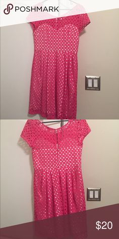 "Betsy Johnson Pink Eyelet Dress Hot pink eyelet dress with white underlay. Size six-fit true to size and falls at the knee( for a 5'5"" person). Great for baby/wedding showers, weddings, or as a sun dress. Worn two times and is in great condition Betsey Johnson Dresses Midi"