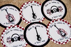 Rock Star Rock n Roll Guitar Party Favor Tags set by Bellezaeluce, $5.00
