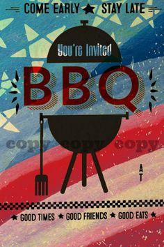 Fourth Of July BBQ Digital Invitation~Digital BBQ Party Invitation~Fourth Of July~BBQ~Digital Invitation~Digital Download Invitation~Invite~ by AbushelandapecCrafts on Etsy