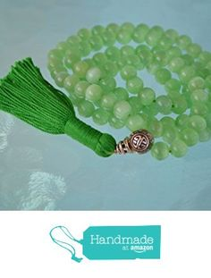 8 mm Green Cat's eye mala glass bead necklace 108+1 prayer beads handmade japa mala necklace. Energized buddhist meditation chakra mala beads - Free mala pouch included-USA Seller from AwakenYourKundalini https://www.amazon.com/dp/B01H4I4XG2/ref=hnd_sw_r_pi_dp_8m-hybSEEPGV0 #handmadeatamazon