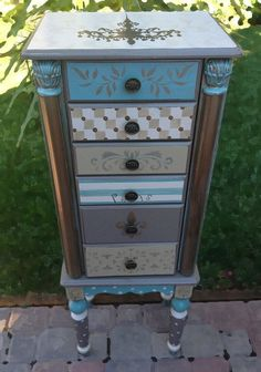 MultiPattern Repurposed Jewelry Armoire by funandfancydesigns