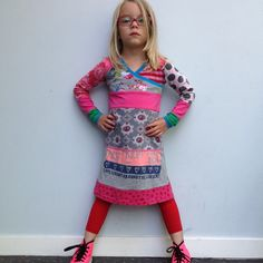 Upcycled girls dress with print love size 4T/5T Europ. by dressme