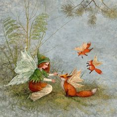 Forest animals gather... Moss Fairy fits foxes with wings!