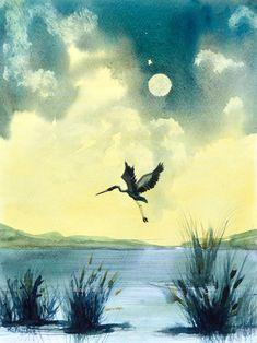 'Heron Taking Off'An ... Watercolours, Watercolour Painting, Irish Art, Heron, Bird Watching, Moonlight, Serenity, Pond, Birds
