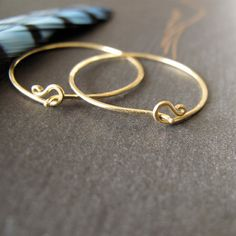 14k Gold Hoop Earrings Solid 1 Inch By Modernbird