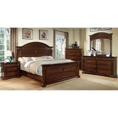 Furniture of America Eminell 4-Piece Antique Walnut Bedroom Set - Overstock™ Shopping - Big Discounts on Furniture of America Bedroom Sets