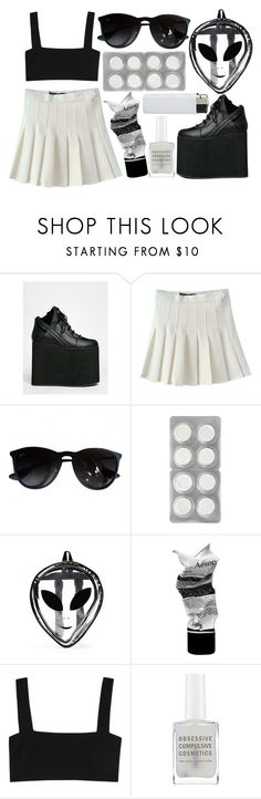 """""""this style doesn't suit me at all lol"""" by brogressive ❤ liked on Polyvore featuring Y.R.U., Ray-Ban, Aesop, Valentino, blackandwhite, grunge and Minimalist"""