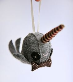 narwhal ornament with a bowtie felt christmas diy christmas ornaments felt ornaments