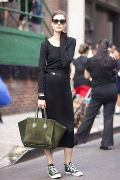 parisian style chic black dress and chucks