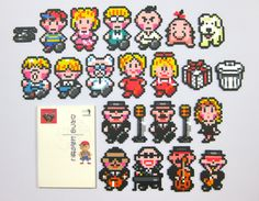 "「MOTHER2」のキャラクターいろいろ /パーラービーズで作成 Various persons in ""EarthBound"". /It creates with Perler Beads."