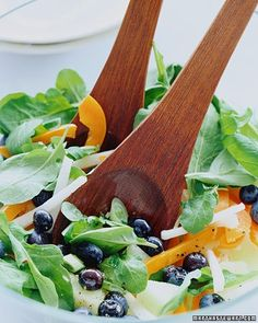 The subtle sweetness of blueberries is an unexpected addition to a salad of peppery arugula.