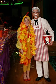 "DIY Halloween costume idea - Colonel Sanders and his ""favorite chicken"" :) (This was a completely home made costume. We just used mostly things we had and got at the thrift store (and got the bucket from KFC). It was a huge hit!"