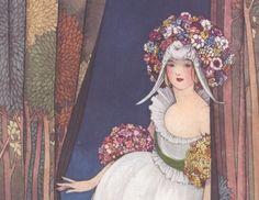 ART NOUVEAU ART Painting Print of Woman with by ArtdeLimaginaire, $10.00