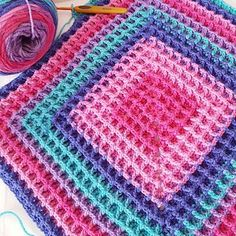 Raised Squared Waffle - free crochet blanket pattern by Buttonnose Crochet Crochet Afghans, Crochet Squares, Point Granny Au Crochet, Crochet Square Blanket, Granny Square, Afghan Crochet Patterns, Baby Blanket Crochet, Blue Square, Crochet Blankets