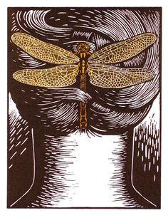 Deborah Klein, Enchanted Hair Ornament 4 Gomphus vulgatissimus (dragonfly) 2009, linocut, hand coloured.