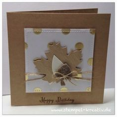 ✩ Check out this list of creative present ideas for cool roadtrips Leaf Crafts, Diy Crafts, Autumn Leaves Craft, Camping Gifts, Fall Cards, Stamping Up, Cardmaking, Birthday Cards, Presents
