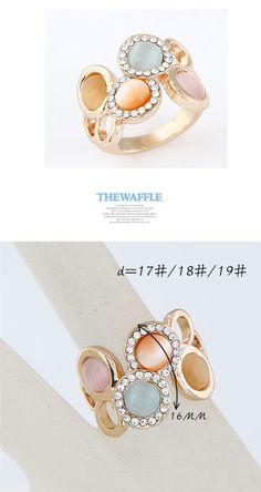 multicolor simple 4 opals design alloy ,Korean Rings  http://earrings.asumall.com/