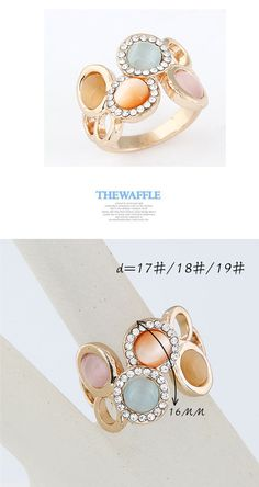 multicolor simple 4 opals design alloy ,Korean Rings  http://earrings.asumall.com/