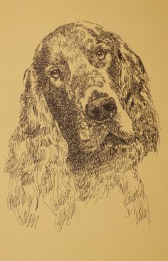 Gordon Setter: Dog Art Portrait by Stephen Kline - art drawn entirely from the words Gordon Setter. He also can add your dog's name into the lithograph. drawdogs.com : drawdogs.com Kline's dog art has generated tens of thousands of dollars for dog rescues worldwide.