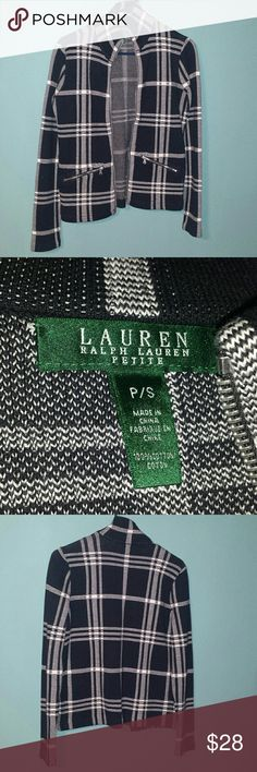 Plaid Lightweight Coat - Ralph Lauren Black and white plaid, like new condition, size Small Petite. Soft and cozy, 100% cotton. All zippers in working order. Ralph Lauren Jackets & Coats Blazers