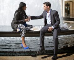 The Mindy Project Finale Fashion |Mindy Kalingi n Helmut Lang Leather Jacket, French Connection Top and Pants, L.K. Bennett Pumps | www.lakeshorelady.com