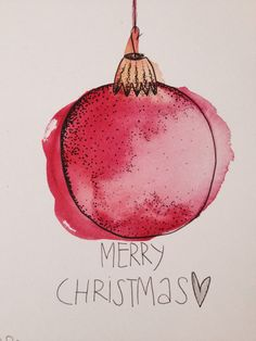 Aquarell Christmas Card - Although many of us have recently chosen to take a hol. Aquarell Christmas Card - Although many of us have recently chosen to take a holiday away from home on holidays and Watercolor Christmas Cards, Diy Christmas Cards, Watercolor Cards, Xmas Cards, Christmas Art, Diy Cards, Holiday Cards, Christmas Bulbs, Christmas Decorations