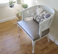 Wood and cane chair painted white - grey upholstery