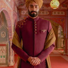 royal red raw silk emroidered Indowestern sherwani or mail at ethnicdiagmailcom for inquiry Wedding Dresses Men Indian, Groom Wedding Dress, Indian Wedding Wear, Groom Dress, Wedding Men, Wedding Suits, Men Dress, Wedding Stuff, Sherwani Groom
