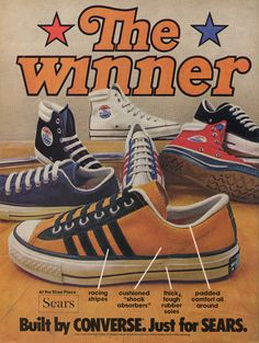 Image : Color photographs of Sears Converse sneakers. Racing stripes, cushioned shock absorbers, thick tough rubber soles, Padded comfort all around.The Winner Built by Converse. Just for Sears. Retro Advertising, Vintage Advertisements, Vintage Ads, Vintage Posters, Vintage Newspaper, Converse Tennis Shoes, 80s Shoes, Blue Shoes, Retro Sneakers